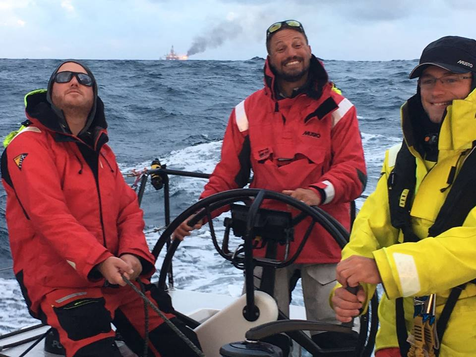 Picture of Pata Negra Lombard 46 racing yacht in the North Sea, RBI SRBI Round Britain and Ireland Race